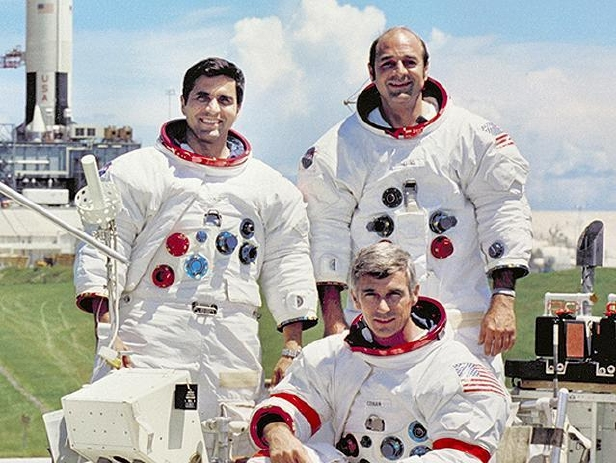 Apollo 17 in 1972 was the last manned mission to the Moon. From left to right: Schmitt, Evans, Cernan (seated).
