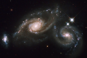 Spiral galaxies merging in the Virgo constellation, 400 million light years away.
