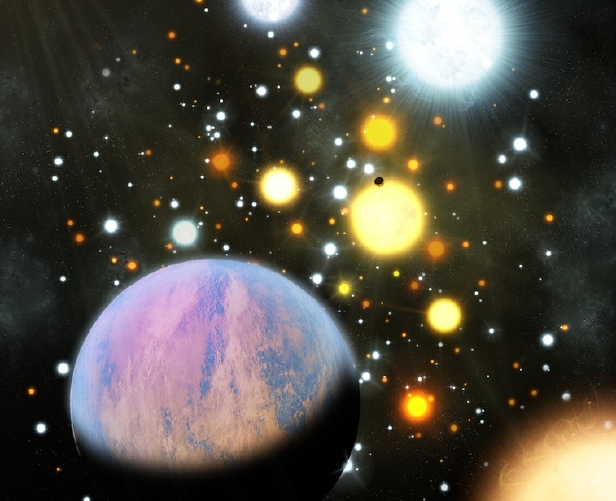 An artist's impression of Kepler-66b and Kepler-67b orbiting their stars in the open cluster NGC 6811.