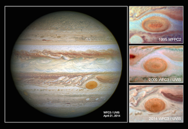 Jupiter's trademark Great Red Spot has shrunk and taken on a more-circular appearance