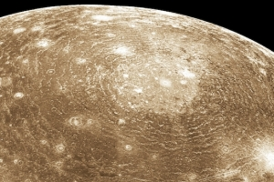 Most of the United States could fit into Callisto's giant crater. Image Credit: NASA