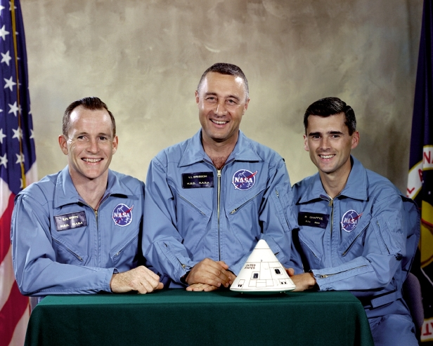 From left to right: Edward H. White II, Virgil I. Grissom, and Roger B. Chaffee. Image Credit: NASA