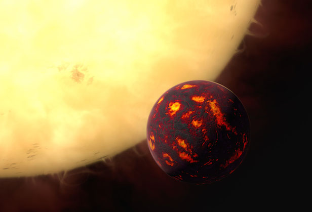 An artist's impression shows the super-Earth 55 Cancri e in front of its parent star. Image Credit: ESA/Hubble, M. Kornmesser