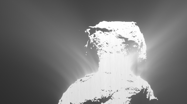 A burst from the surface of Comet 67P. Image Credit: ESA/Rosetta/MPS for OSIRIS Team MPS/UPD/LAM/IAA/SSO/INTA/UPM/DASP/IDA