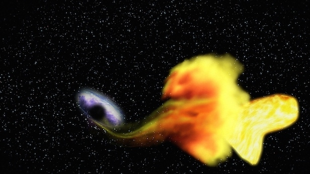 "A black hole destroying a star, an event astronomers call ""stellar tidal disruption,"" releases an enormous amount of energy, brightening the surroundings in an event called a flare. Image Credit: NASA"