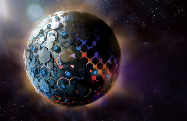 The Dyson Sphere around a star. A future technology which could harness power and energy from a star by surrounding it with hexagon shaped satellites