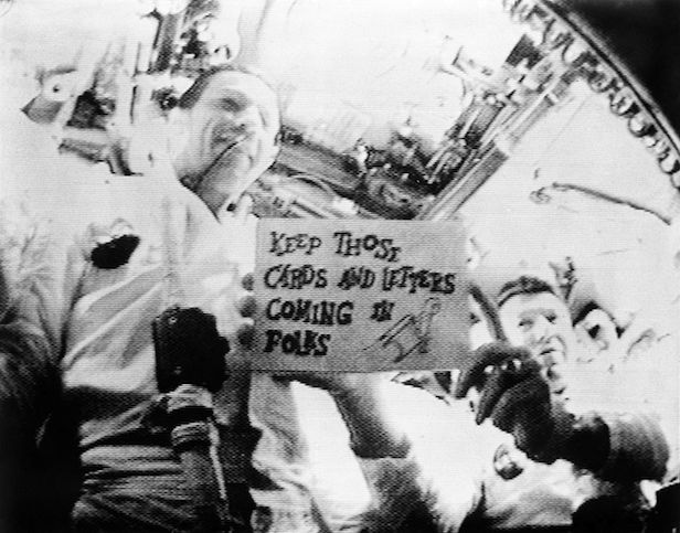 The first live television transmission from space from Apollo 7. Image Credit: NASA