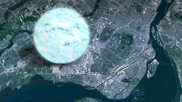 A neutron star, pictured here next to Manhattan, New York, for scale, are highly dense objects. Image Credit: NASA