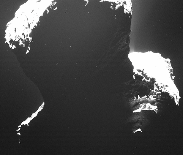 Image of the southern polar regions of Comet 67P/Churyumov-Gerasimenko taken by Rosetta on 29 September 2014, when the comet was still experiencing the long southern winter. Image Credit: ESA/Rosetta/MPS for OSIRIS Team