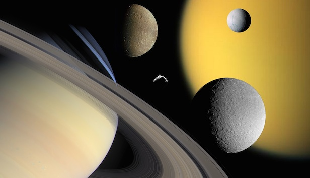 Saturn's moons, some of which are shown in this collage, are thought to have formed after the era of the dinosaurs. Image Credit: NASA