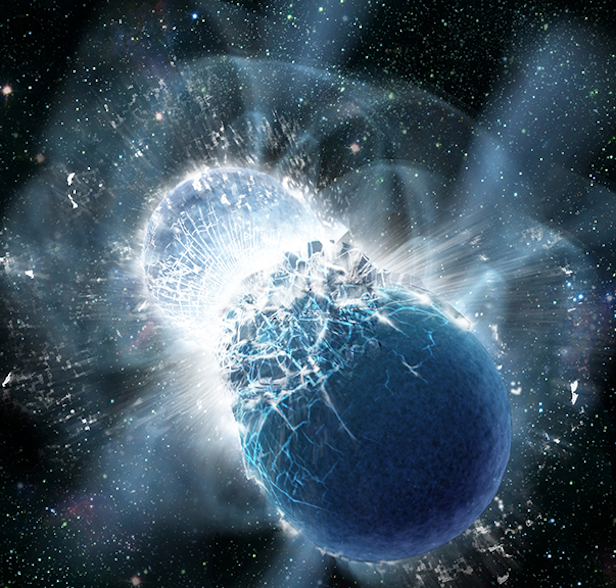 An artist's impression of two neutron stars colliding. Image Credit: Dana Berry, SkyWorks Digital, Inc